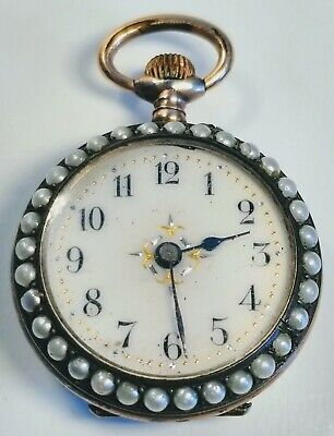 Vintage 1920s French Art Deco 14K Gold Green Enamel With Pearls Pocket Watch