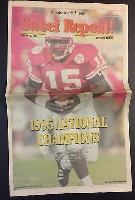 NEBRASKA HUSKERS Football 1995 Championship Newspaper Cornhuskers Tom Osborne