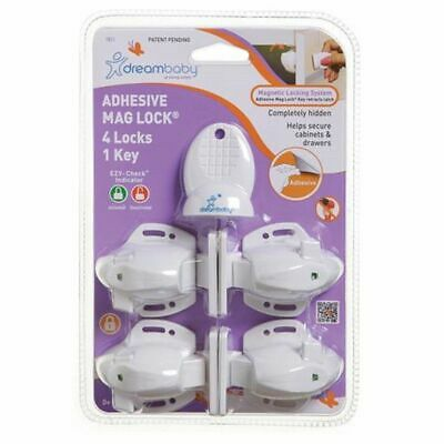 Dreambaby Adhesive Magnetic Lock - 4 Locks & 1 Key - 5 Piece Set mag