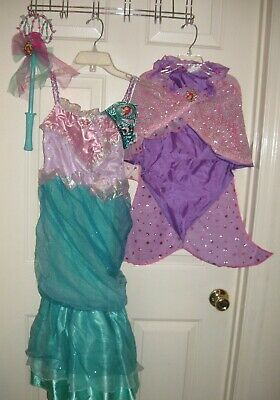 48876e24c28a2 Disney Store Ariel Little Mermaid gown dress M 7/8 costume tiara wand set