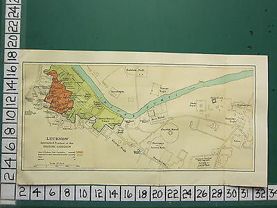 1938 India Indian Tourist Map ~ Lucknow Intrenched Position British Garrison