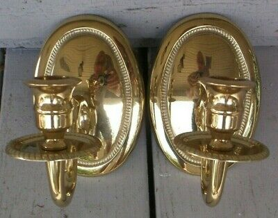 Pair Of Antique Colonial Style  Solid Brass Virginia Metalcrafters Wall Sconces