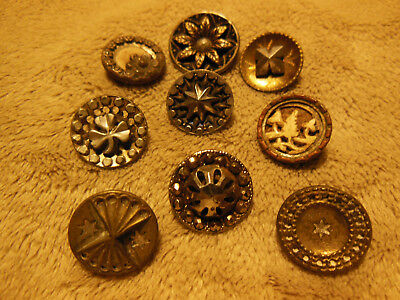 "Lot Of 9 Antique Victorian Fancy Metal Buttons Assorted Styles 9/16"" Diameter"