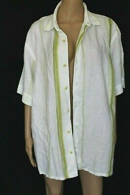 6607f1f3 TOMMY BAHAMA 100% LINEN White Green Stripes Sheer Men Button down Shirt L