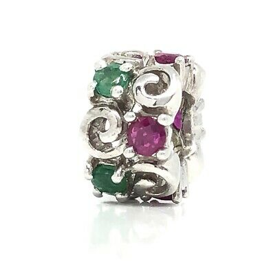 EMERALD & RUBY 925 Sterling Silver Slider Charm For European Bracelet