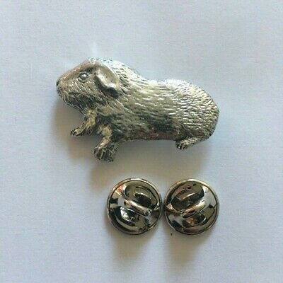 Guinea Pig Pin Badge Brooch in UK Pewter & Gift Box Option Presents