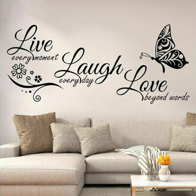 Live Laugh Love Butterfly Wall Stickers Art Room Decal Home Decor