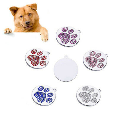 QA_ Rhinestone Inlaid Paw Pattern Puppy Dog Cat Pet Safe Collar ID Tag Pendant