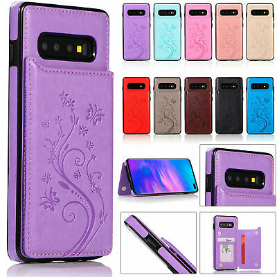 Leather Samsung Galaxy S9 S10 Case Credit Card Holder Magnetic Shockproof Cover