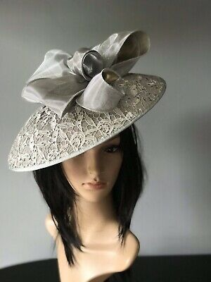 snoxell gwyther GREY  Hat disc FASCINATOR ascot wedding  MOTHER OF THE BRIDE
