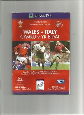 Wales v Italy 2000 Six Nations Rugby Programme 19th February 2000 + ticket
