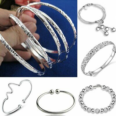 925 Silver Flower Statement Women Bracelet Bangle Gift Wedding Jewelry Holiday