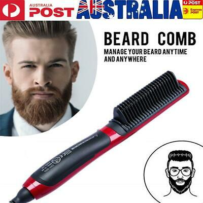 Portable Men's Fast Beard Smooth Comb Straightener Multifunction Curler LCD Comb