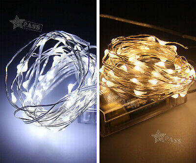 5M 50LED Silver Wire String Lights Xmas Fairy Party without battery