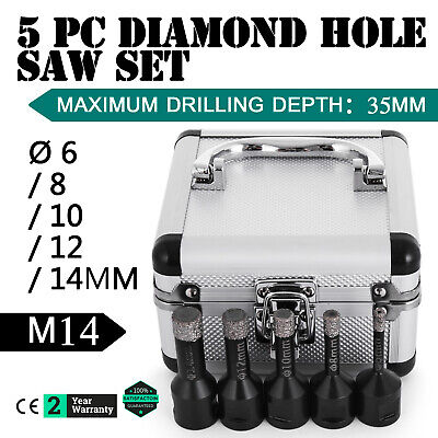 5PCS Diamond Holesaw Set Ø 6/8/10/12/14mm M14 Ceramics M14 thread Vacuum Brazed