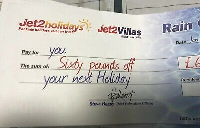 Jet2Holidays £60 Rain Cheque Holiday Discount voucher Valid Holidays March 2020
