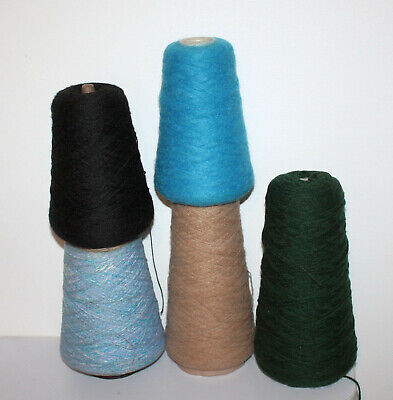 Cones Hand or Machine Knitting Yarn in Mixed Colours and Types weight 1490g