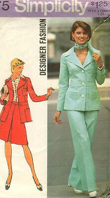 6175 SIMPLICITY Designer c.1973 - Detailed JACKET SKIRT & PANTS - Sz 12 B 34""