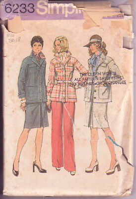 6233 SIMPLICITY c.1974 - JACKET SKIRT PANTS - Sz 18 B 40""