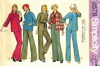 6578 SIMPLICITY c.1974 - SHIRT-JACKETS BLOUSE & PANTS - Sz 12 B 34""