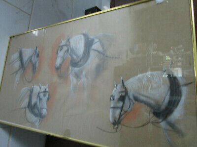 "Crayon Watercolor Original Carriage Horses Painting On Paper 31 X 12"" Unsigned"