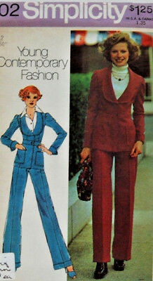 6602 SIMPLICITY c.1974 - JACKET w Shawl Collar & PANTS - Sz 12 B 34""