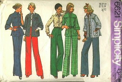 6621 SIMPLICITY c.1974 - SHIRT-JACKET BLOUSE & PANTS - Sz 12 B 34""
