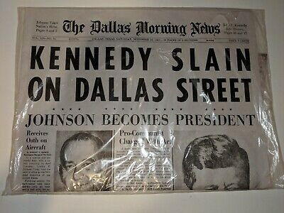 KENNEDY SLAIN ON DALLAS STREET Dallas Times Herald Newspaper November 23,1963