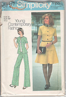 6791 SIMPLICITY c.1974 - 2Pc DRESS: JACKET TOP & SKIRT PANTS - Sz 14 B 36""