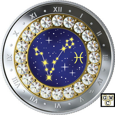 2019'Pisces -Zodiac Series' Crystalized Proof $5 Silver Coin .9999 Fine(18694)NT