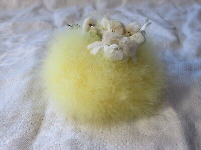 c1920 Vintage Art Deco Genuine Real Down Feather Yellow Powder Puff NEVER USED
