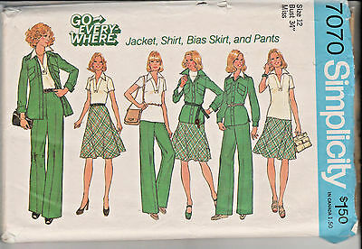 7070 SIMPLICITY c.1975 - JACKET/SHIRT Pullover TOP Bias SKIRT PANTS - Sz 12 B34""