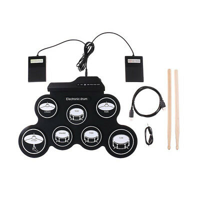 Portable Electric Drum Set Record Stick Silicon Pad Electronic Roll Up Kit 7 Pad