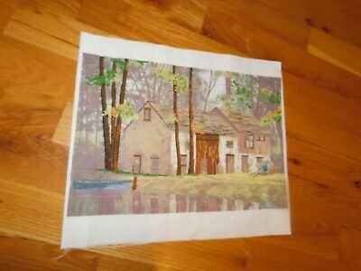 Canoe by Forest Cottage Cross Stitch Panel COMPLETED Handmade