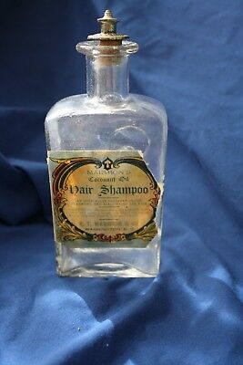 Vintage MARMION'S HAIR SHAMPOO Glass Bottle w/Cork Stopper & Metal Finial