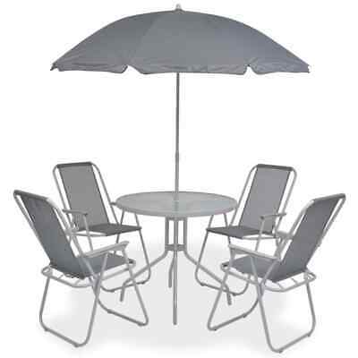 6-piece Garden Furniture Outdoor Patio Dining Set table and 4 Chair with Parasol