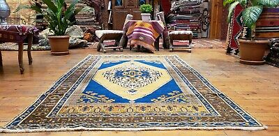 """Beautiful Antique Cr1930-1939s Wool Pile 4'2""""×7' Muted Dyes Oushak  Rug"""