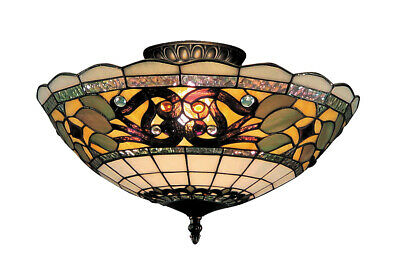 ELK Lighting 941-TB Tiffany Buckingham Semi-Flush Mount Vintage Antique
