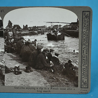 WW1 Stereoview British Army Seaforths Swimming In French Canal Realistic Travels