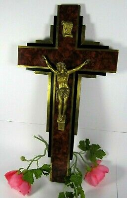 XL Large Antique Gilt Spelter Crucifix French Burl Wood Jesus Christ Wall Cross