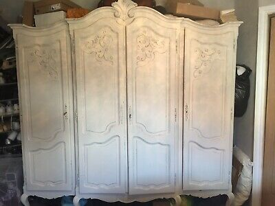 Louis XV Style Vintage French Carved 4 door Armoire Wardrobe,