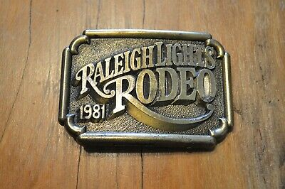 Vintage Raleigh Lights Rodeo 1981 Brass Belt Buckle, New W/O Packaging