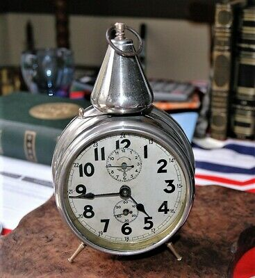 Antique Franz Hermle Nickel Chrome Plate Alarm Clock Brass Feet With Bell Over