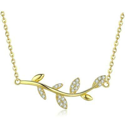 Lucky Tree Leaf Branch Gold Plated Over Silver Pendant Necklace B01