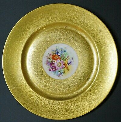 """Pickard Hand Painted Decorated Gold Encrusted 10 3/4"""" Dinner Cabinet Plate - C"""