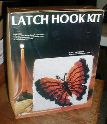 "S'More Latch Hook Rug Kit A-250 BUTTERFLY Pillow Wall Hanging 12""x12"" in Box"