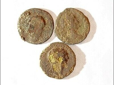 3 ANCIENT ROMAN COINS AE2 LARGE - Uncleaned and As Found! - Unique Lot L11817