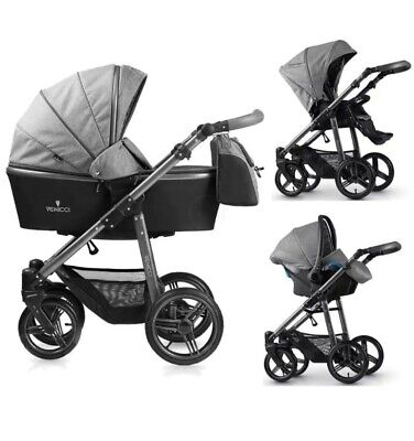 Venicci carbo stroller buggy special edition travel system, grey and black