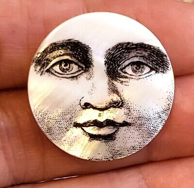 Wonderful Pearl Button with Moon Face...Man In The Moon