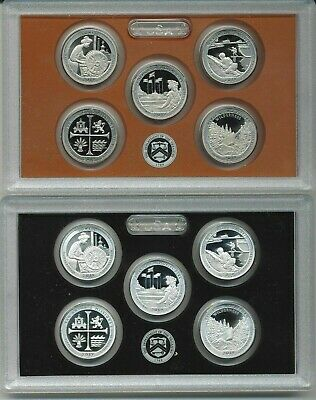2019 US MINT 5 COIN AMERICA the BEAUTIFUL SILVER & CLAD PROOF QUARTER SETS pairs